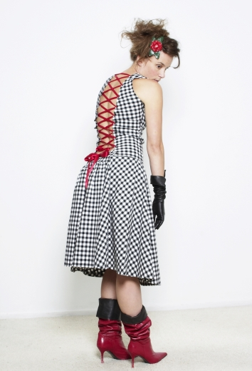 ruiten jurk korset style, victoriaans